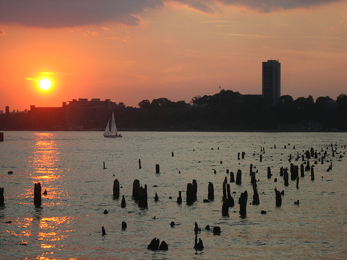 Sunset and Sailboat on the Hudson by Nicole Marti